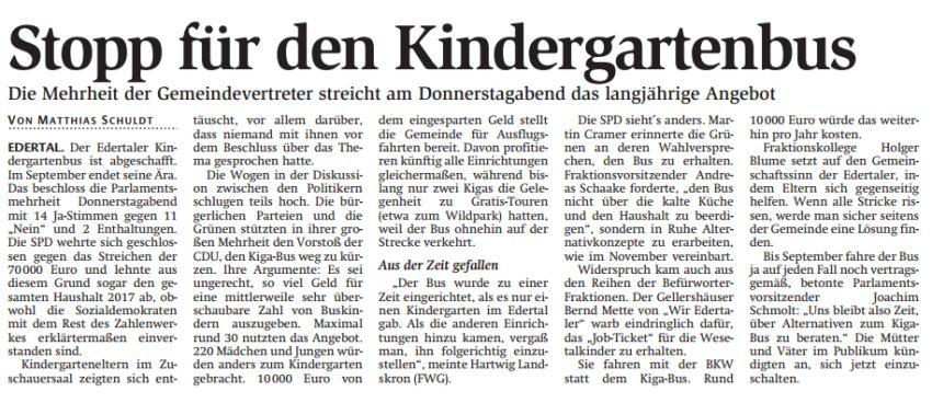 Stopp für den Kindergartenbus, WLZ vom 04.02.2017